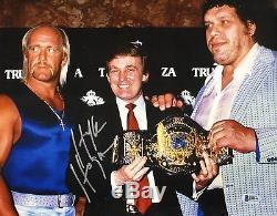 Hulk Hogan Signé 11x14 Photo Bas Beckett Coa Wwe Auto'd Image Avec Donald Trump