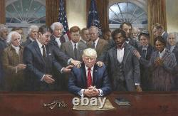 Jon Mcnaughton Legacy Of Hope 24x36 S/n Toile Donald Trump Recevant La Prière