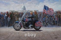 Jon Mcnaughton Maga Ride 30x45 S/n L/e Canvas Donald Melania Trump Sur Moto