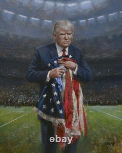 Jon Mcnaughton Respect The Flag 30x24 S/n Canvas Donald Trump NFL Football Art