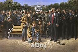 Jon Mcnaughton Vous N'êtes Pas Oublié 30x45 S / N Donald Trump Americana Art Toile