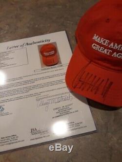 Le Président Américain Donald Trump Autosigné Maga Chapeau-rare Deux-psa Cert / Adn Et Jsa