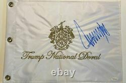 Le Président Donald J Trump Réel Autographe Trump Flag Golf Jsa Coa