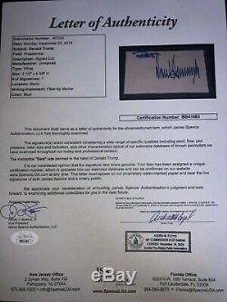 Le Président Donald Trump A Signé Cut Jsa Loa Vintage Full Auto Inscribed Z312