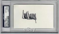 Le Président Donald Trump A Signé La Carte D'index 3x5 Psa / Adn Signature Rapide