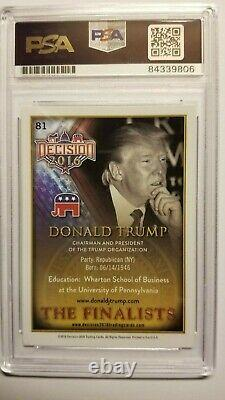 Le Président Donald Trump A Signé La Carte Des Finalistes, Psa/dna, Très Rare