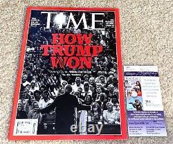 Le Président Donald Trump A Signé Le Magazine Time Maga Potus 2016 Gop Républicain Jsa