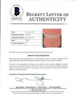Le Président Donald Trump A Signé Officiel Red Maga Hat Autograph Beckett Bas Coa