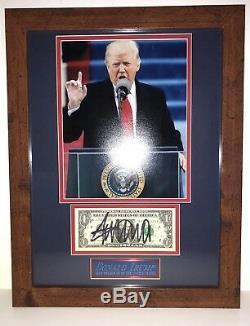 Le Président Donald Trump A Signé Un Autographe De Billets D'un Dollar Encadré Photo Jsa Loa Coa