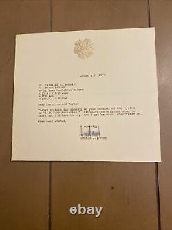 Le Président Donald Trump A Signé Une Lettre, Je Vais Prendre Manhattan, Très Rare