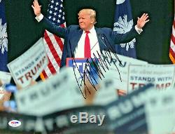 Le Président Donald Trump Autographié 11x14 Photo Dédicacée Psa Adn Coa Crease Légère