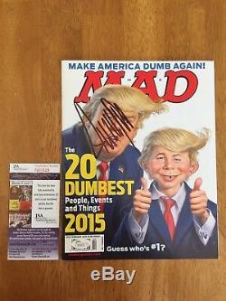 Le Président Donald Trump Autographié Mad Magazine Jsa Assermentée