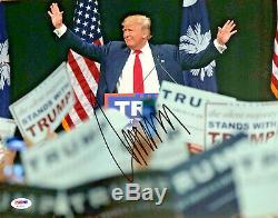 Le Président Donald Trump Autographiés 11x14 Signé Armes Photo Dans L'air Psa Adn Coa