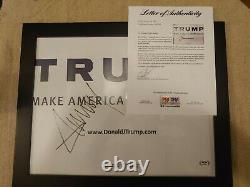 Le Président Donald Trump Encadré Autographié 2016 Affiche De Campagne -rare Psa/dna