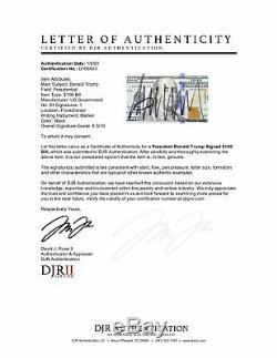 Le Président Donald Trump Potus Signé Billet De 100 $ Banknote Auto Djr Loa