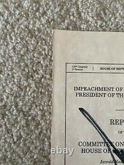 Le Président Donald Trump Signé 6 X 9.25 Articles D'impeachement Couverture Beckett