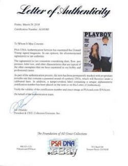 Le Président Donald Trump Signé Autographié Playboy Magazine Psa / Adn