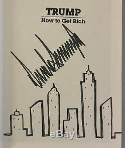 Le Président Donald Trump Signé Comment Enrichissez-livre Rare Nyc Skyline Dessin Jsa
