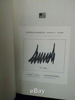 Le Président Donald Trump Signé Premiere Collection Crippled Amérique Du Livre Coa