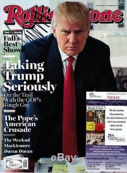 Le Président Donald Trump Signé Rolling Stone Magazine No Étiquette Postale! Jsa Coa
