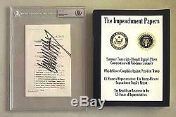Le Président Donald Trump Signé Titre Page Mise En Accusation! (beckett Bgs) + Bonus