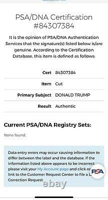 Le Président Donald Trump Signed Photo Cut, Psa/dna Certified, Slabbed, Rare