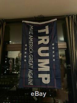 M. Le Président Atout Signée 5' Donald Long Flag Ou Pic Maga Campagne Avec Coa