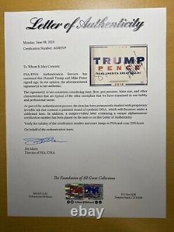 Maga Donald Trump Et Mike Pence Signé Campagne Signe Psa Coa Loa Président Et Vice-président