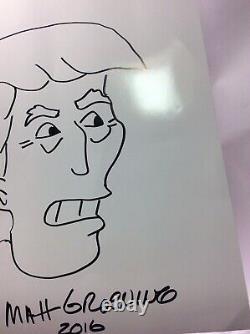 Matt Groening Signé Art Sketch Authentics Dessin Président Donald Trump 2016