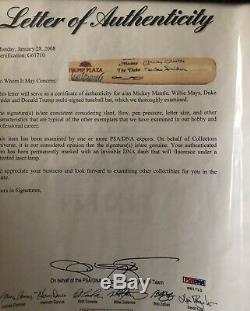 Mickey Mantle Mays Snider Chauve-souris Autographiée Par Donald Trump