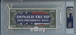 Mock Autographié Par Donald Trump Signé $$$$$ Psa / Dna Encapsulé Dans Un Dollar