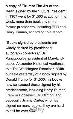 Président Atout Autographed Signature Donald Livre, Signé Pourquoi Nous Voulons Être Rich