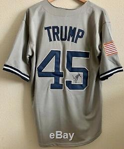 Président Atout Originale Autographié Donald Signé New York # 45 Etats-unis Jersey Coa