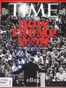 Président Atout Signée À La Main Donald Time Magazine + Psa Adn Coa Acheter Authentique