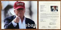 President Donald J Real Atout Autographe 11x14 Photo Maga Jsa Complet Coa