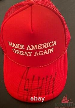Président Donald Trump A Signé Maga Hat Jsa Loa Bold Auto Rare Mike Pence Z520