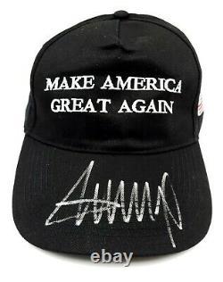 Président Donald Trump Signé À La Main Autographié Faire L'amérique Grand Chapeau Noir Coa