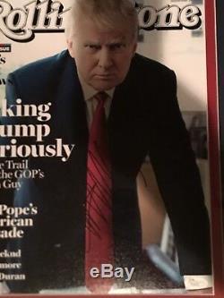 Président Donald Trump Signé Encadré Rolling Stone 16x20 C / O Jsa