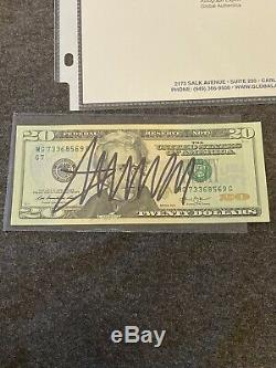 Président Élu Donald Trump A Signé 20 $ Bill Nous Monnaie Autograph Gai Psa Jsa