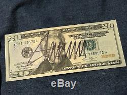 Président Élu Donald Trump Signée À La Main 20 $ Bill Nous Monnaie Autograph Gai Coa
