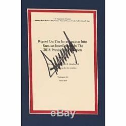 Rapport Donald Trump USA Président Autographié Mueller Book Page Framed Jsa Coa