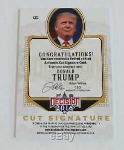 Rare Décision Red Foil 2016 Cut Signature Donald Trump Autographed # Carte Cs2