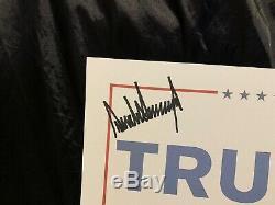 Rare Président Donald Trump Signé / Autographié 2016 (12 X 18) Campagne Poster