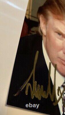 Real 5x3.5 Gold Sharpie Signature Président Donald Trump Signé À La Main Autographe