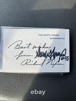 Richard Nixon (stylo Automatique), Donald Trump Signé Et Numéroté Carte De La Maison Blanche Rare