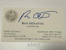 Ron Desantis Auto Signé Carte D'affaires Autographiée 2024 Président Du Gop Trump