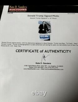 Signature Du Président Donald Trump Signée Blue Sharpie Frank Photo Encre Testée, Coa