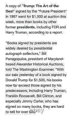 Signé À Tom Authentic Art Of Deal Président Donald Trump Doubleday Librairies