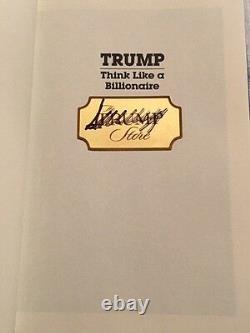 Signé Autographe Président Donald Trump Think Comme Un Billionaire, Magasin Officiel