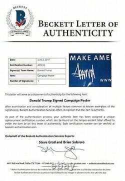 Signe De Campagne Signé Signé Par Donald Trump. Autographe Certifié Beckett